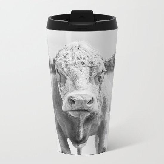 Cow Portrait Minimalism | Farm animal Metal Travel Mug