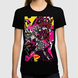 Abstract in callage bright colors and layers of patterns T-shirt
