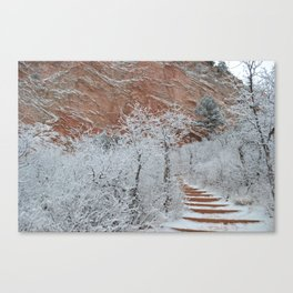 Garden of the Gods path in snow Canvas Print