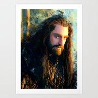 thorin Art Prints featuring Thorin OakenShield by Alba Palacio