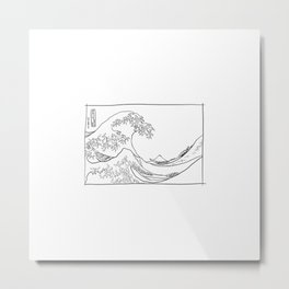 The Great Wave, Sketched Metal Print