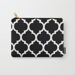 Moroccan Black and White Lattice Moroccan Pattern Carry-All Pouch