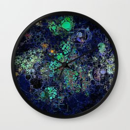 Dark Indigo Turquoise Abstract Design Wall Clock