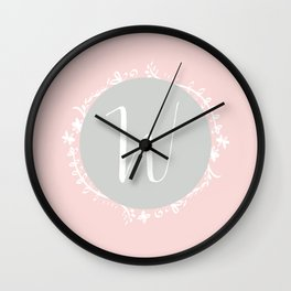 Garland Initial W - Grey Wall Clock