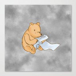Pooh Reading Grey Canvas Print