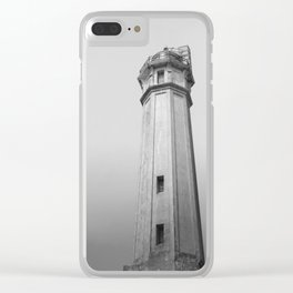Alcatraz Lighthouse (Black and White Version) Clear iPhone Case