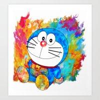 doraemon Art Prints featuring Doraemon by ururuty