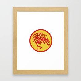 Dragon Gargoyle Crouching Circle Retro Framed Art Print