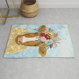 Cute cow with flowers on head, floral crown farm animal Rug
