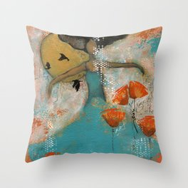 Floating. African American Art, Black Art, Women, Girls, Female Throw Pillow
