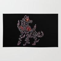 okami Area & Throw Rugs featuring Okami Amaterasu - Cherry Blossom Form [BLACK] by Daniel Bevis