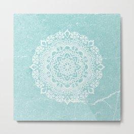 Mandala on concrete - teal Metal Print