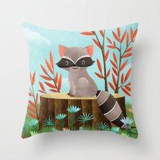 Woodland Friends - Raccoon Throw Pillow