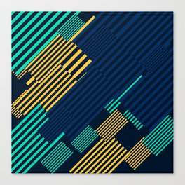 Green and Gold Linear Pattern Canvas Print