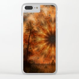 Surreal landscape in corrugated iron mandala Clear iPhone Case