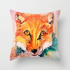 Watercolor Fox Cute Animal Portrait Painting Throw Pillow