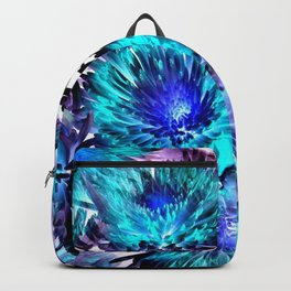 Turquoise Purple Abstract Flowers Backpack