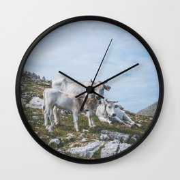 Mountain cows, Italy Wall Clock