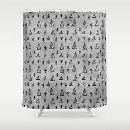 Black abstract tree pattern on concrete  - Mix&Match with Simplicty of life Shower Curtain