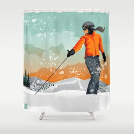 Skier Looking Shower Curtain