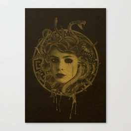 Golden Medusa Greek Mythology Illustration Canvas Print