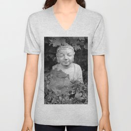 Buddha back and white Unisex V-Neck