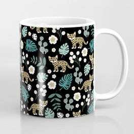 Little Leopard cub jungle forest palm tree ochre Coffee Mug