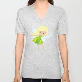 Cute Fairy, Blonde Hair, Fairy In Green Dress Unisex V-Neck