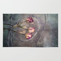 depression Area & Throw Rugs featuring Trapped Roses by Maria Heyens