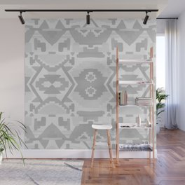 Geometric Aztec in Soft Grey Wall Mural