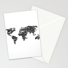 Marble World Map II Stationery Cards