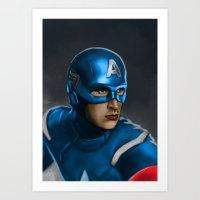 Captain America Illustration Print Art Print