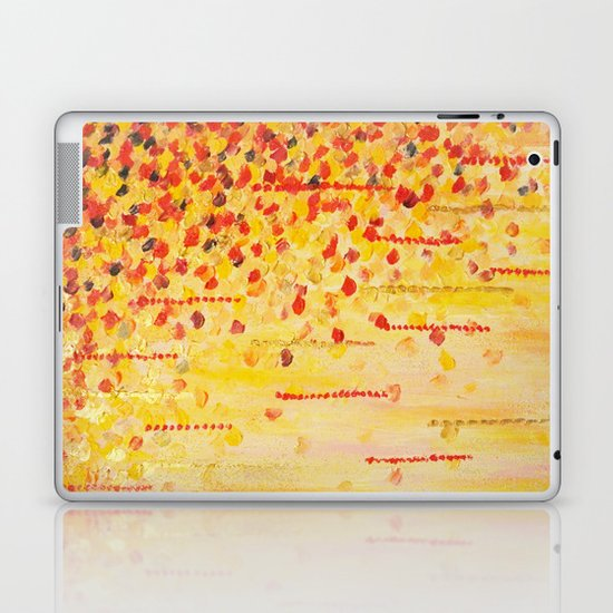 WHEN IT FALLS Bold Autumn Winter Leaves Abstract Acrylic Painting Christmas Red Orange Gold Gift Laptop & iPad Skin