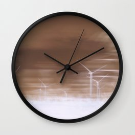 Ghostly wind turbines Wall Clock