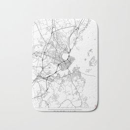 Portland ME Map White Bath Mat
