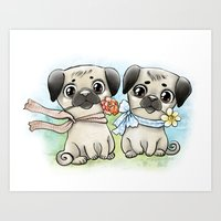 pugs Art Prints featuring Cute pugs by Anna Syroed