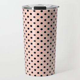 Small black polka dots on a pink beige background. Travel Mug
