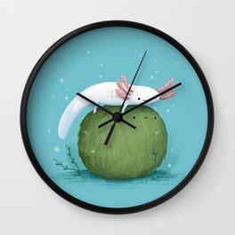 Axolotl on a Mossball Wall Clock