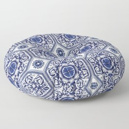 Portuguese Tiles Azulejos Blue and White Pattern Floor Pillow
