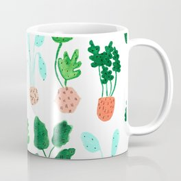 Painted Postmodern Potted Plants in White Coffee Mug