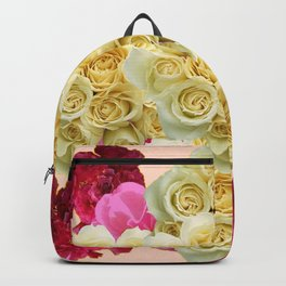PINK WHITE RED ROSES PATTERN Backpack