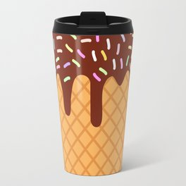 waffles with flowing chocolate sauce and sprinkles Travel Mug