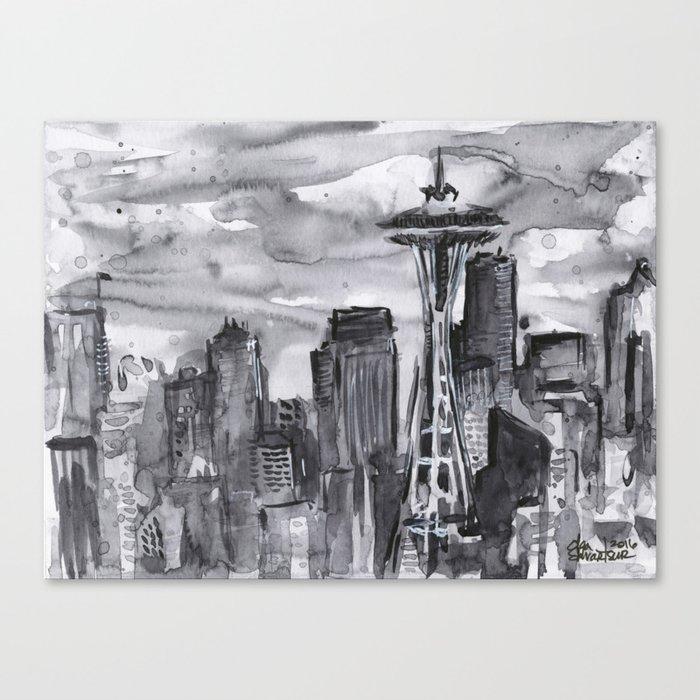 Seattle Skyline Watercolor Space Needle Washington PNW Canvas Print