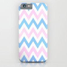 Blue Pink Textured Vintage Chevron iPhone 6s Slim Case