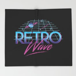 Retro Wave Under The Stars Throw Blanket