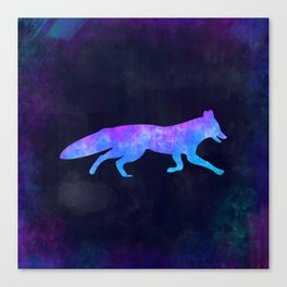 FOX IN SPACE // Animal Graphic Art // Watercolor Canvas Painting // Modern Minimal Cute Canvas Print