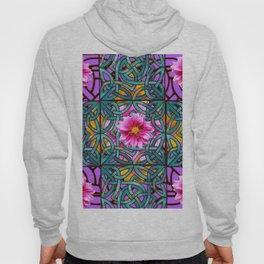 Lilac & Aqua Fuchsia Dahlias Inter-twining Art Nouveau Hoody