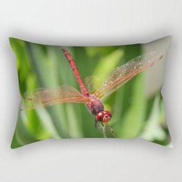 Red Skimmer or Firecracker Dragonfly Closeup Rectangular Pillow
