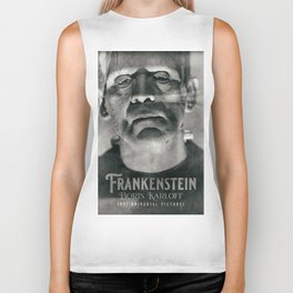 Frankenstein, vintage movie poster, Boris Karloff, horror film, Mary Shelley book cover Biker Tank