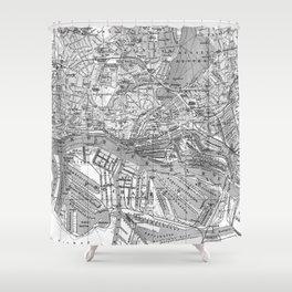 Vintage Map of Hamburg Germany (1910) 2 BW Shower Curtain